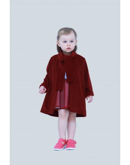 Gumis derekú ruha + lány bársony kabát