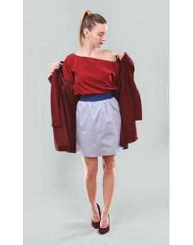 Selyem blúz + gumis derekú rövid szoknya + bársony kabát