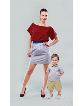 Selyem blúz + gumis derekú rövid szoknya + rövid ujjú ing + gumis derekú rövid nadrág