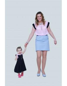 Muszlin blúz + gumis derekú rövid szoknya + nyakbakötős ruha