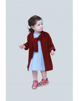 Rakott szoknyás ruha + lány bársony kabát